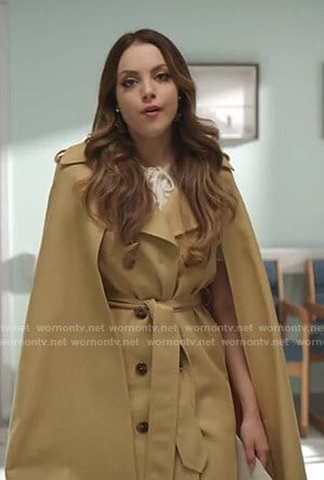 Fallon's yellow cape trench coat on Dynasty