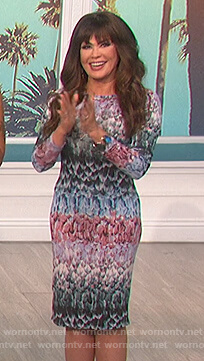 Marie's feather print dress on The Talk