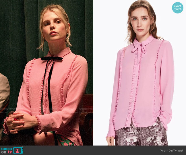 Fernweh Pink Ruffle Blouse w/ Bow worn by Astrid (Lucy Boynton) on The Politician