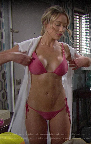Flo's pink bikini on The Bold and the Beautiful
