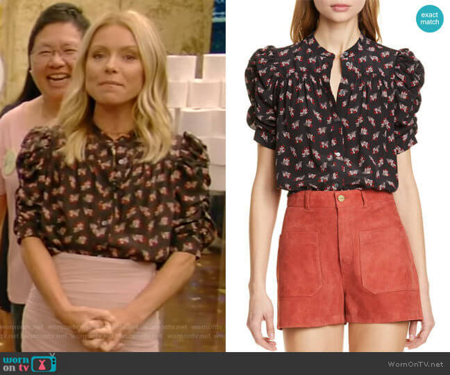 Floral Ruched Sleeve Silk Blouse by Frame worn by Kelly Ripa  on Live with Kelly & Ryan