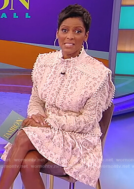 Tamron's white floral lace trim dress on Tamron Hall Show