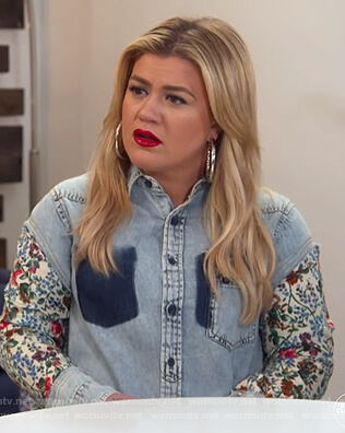 Kelly's floral denim patchwork shirtdress on The Kelly Clarkson Show