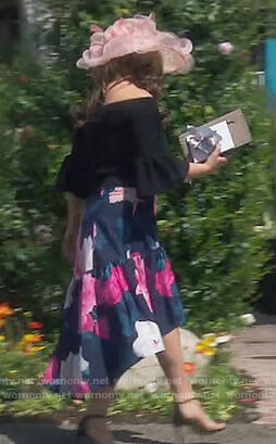 Emily's blue floral print skirt on The Real Housewives of Orange County