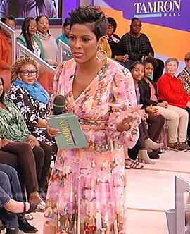 Tamron Hall's floral print midi dress on Tamron Hall Show