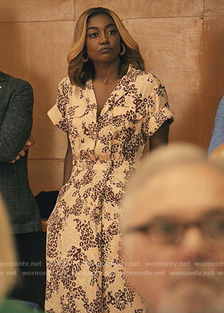 Daisy's pink floral shirtdress on Madam Secretary