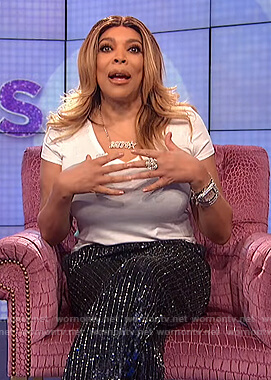 Wendy's sequin stripe pants on The Wendy Williams Show