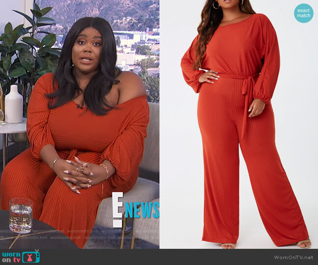 Plus Size Ribbed Jumpsuit by Forever 21 worn by Nina Parker  on E! News