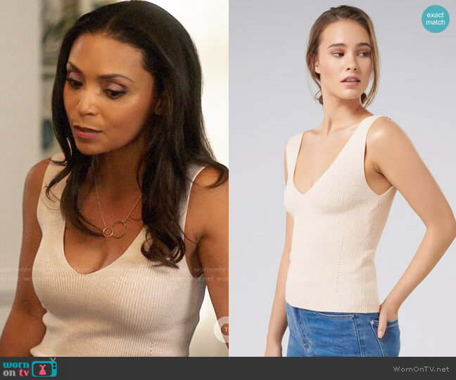 Ever New Aimee V-neck Knitted Tank Top worn by Cecile Horton (Danielle Nicolet) on The Flash