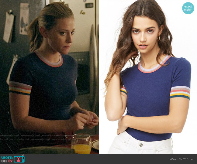 Forever 21 Multicolor Striped-Trim Knit Top by Forever 21 worn by Betty Cooper (Lili Reinhart) on Riverdale