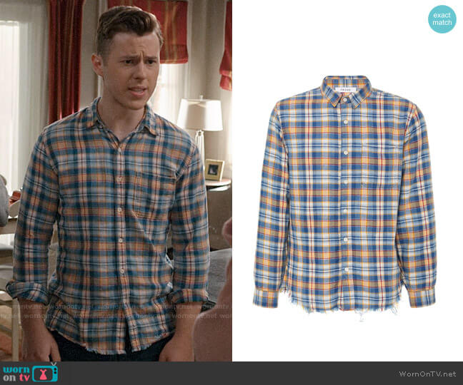 Frame Frayed-Hem Plaid Cotton Button-Up Shirt worn by Luke Dunphy (Nolan Gould) on Modern Family