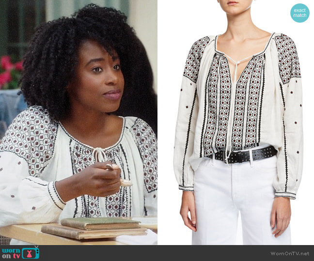Frame Anita Peasant Blouse worn by Simone Garnett (Kirby Howell-Baptiste) on The Good Place