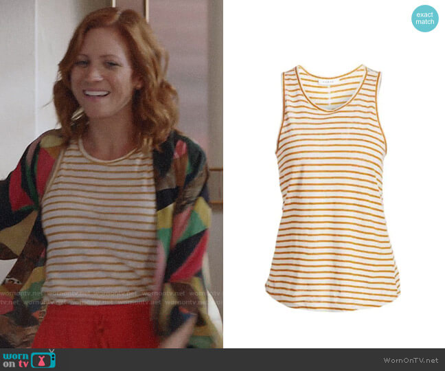 Frame Marigold Linen Striped Tank Top worn by Julia Bechley (Brittany Snow) on Almost Family
