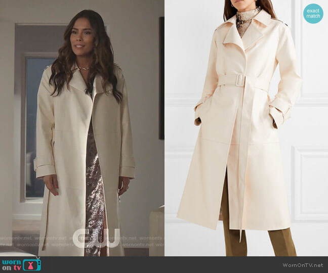 Eve Faux Leather Trench Coat by Frankie Shop worn by Cristal Jennings (Daniella Alonso) on Dynasty