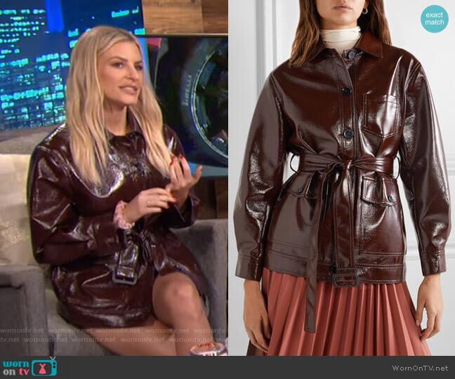 Ilenia Belted Vinyl Jacket by Frankie Shop worn by Morgan Stewart  on E! News