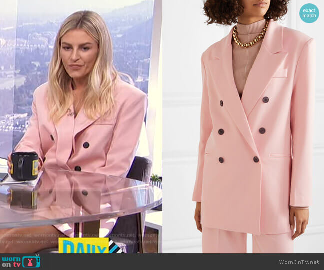 Julie Double-Breasted Gabardine Blazer by Frankie Shop worn by Morgan Stewart  on E! News