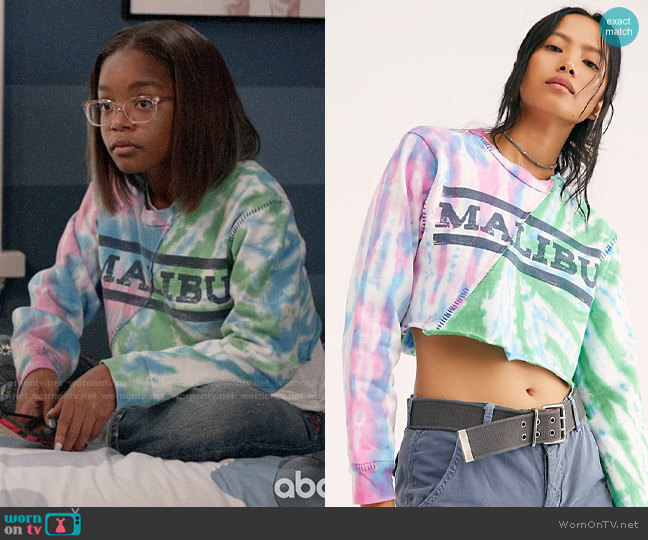 Free People Malibu Tie Dye Pullover worn by Diane Johnson (Marsai Martin) on Blackish
