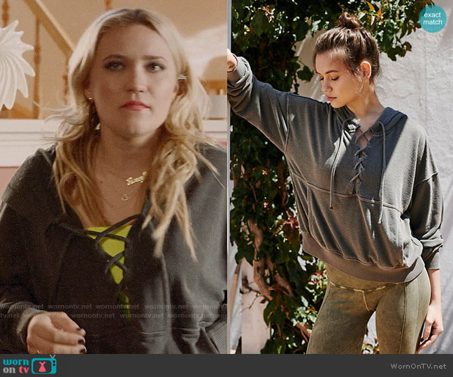 Free People Believer Sweat Hoodie worn by Roxy Doyle (Emily Osment) on Almost Family