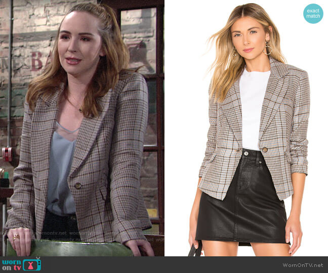 Free People Chess Blazer worn by Mariah Copeland (Camryn Grimes) on The Young & the Restless