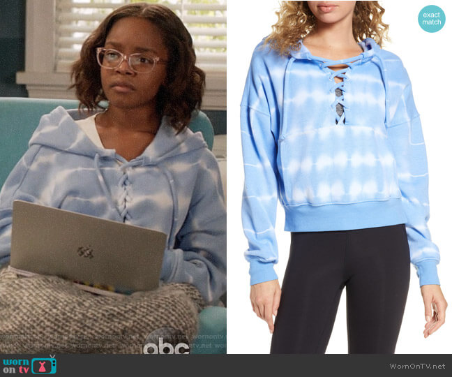 Free People FP Movement Tie Dye Believer Lace-Up Hoodie worn by Diane Johnson (Marsai Martin) on Blackish