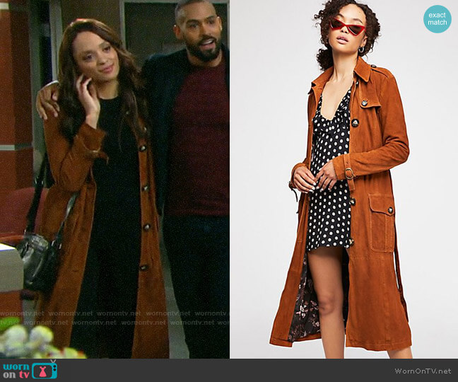 Free People We The Free Larsen Suede Trench worn by Lani Price (Sal Stowers) on Days of our Lives