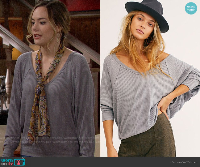 Free People Santa Clara Thermal worn by Hope Logan (Annika Noelle) on The Bold & the Beautiful