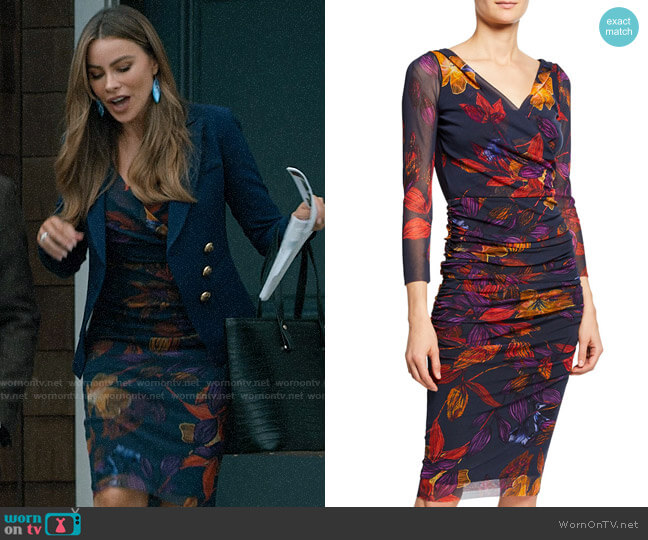Fuzzi Leaf-Print Ruched Bodycon Dress worn by  Gloria Pritchett (Sofia Vergara) on Modern Family