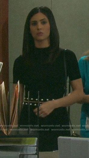 Gabi's black pearl waist dress on Days of our Lives