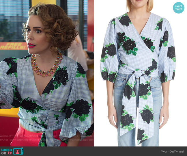 Pine Floral Wrap Top by Ganni worn by Coralee Armstrong (Alyssa Milano) on Insatiable