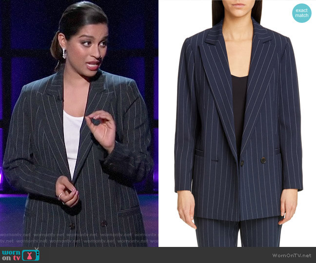 Ganni Stripe Suiting Blazer worn by Lilly Singh  on A Little Late with Lilly Singh
