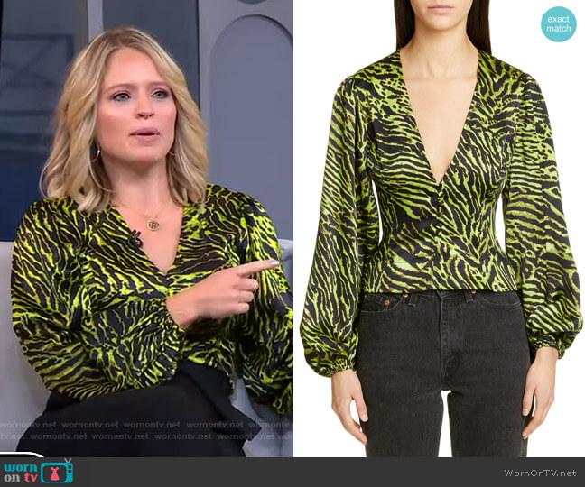 Tiger Print Silk Satin Blouse by Ganni worn by Sara Haines  on Good Morning America