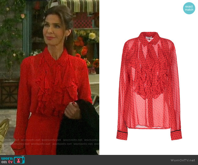 Ganni Patterned Blouse worn by Hope Williams (Kristian Alfonso) on Days of our Lives