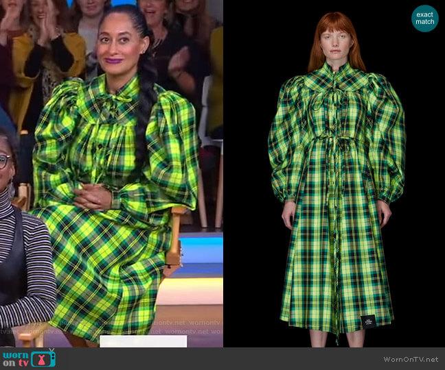 Gathered Plaid Dress by SR Studio worn by Tracee Ellis Ross on GMA