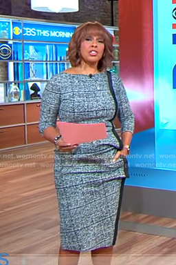Gayle's blue tweed check dress on CBS This Morning
