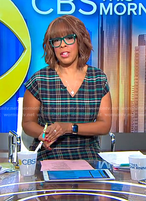 Gayle's plaid v-neck dress on CBS This Morning