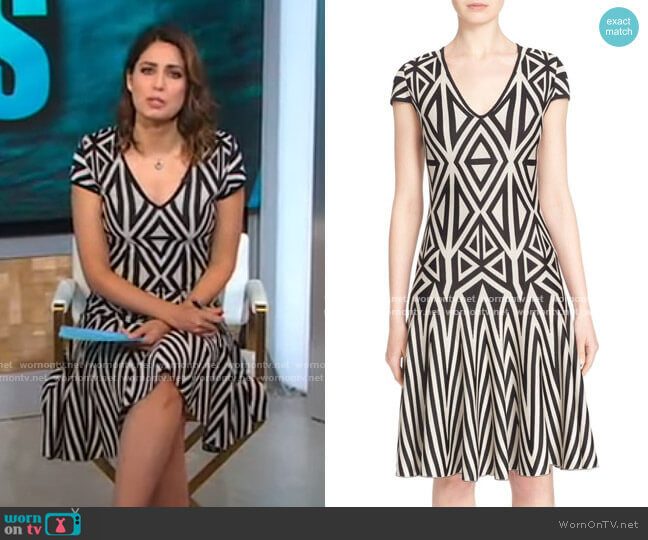 Geometric Knit Fit & Flare Dress by St John Collection worn by Cecilia Vega  on Good Morning America
