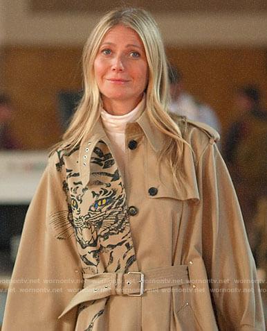 Georgina's tiger print trench coat on The Politician