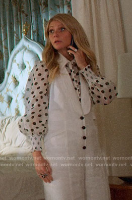 Georgina's white polka dot blouse and button front jumpsuit on The Politician