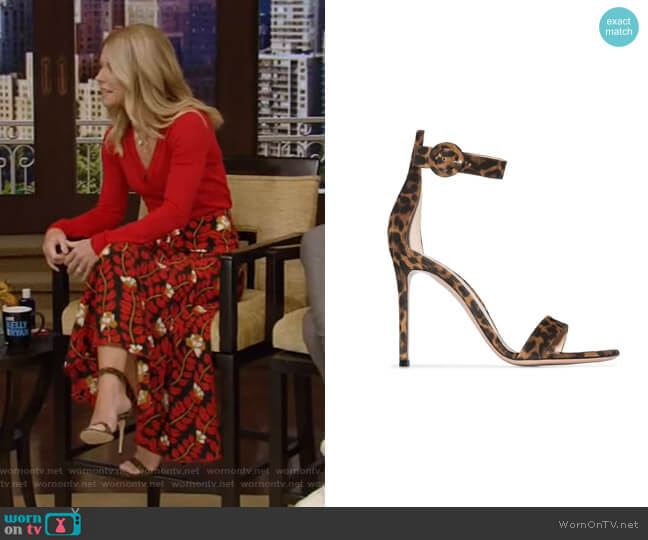 Portofino Leopard-print Sandals by Gianvito Rossi worn by Kelly Ripa  on Live with Kelly & Ryan