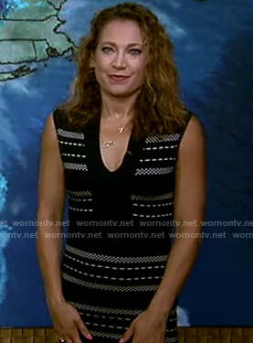 Ginger's black knit v-neck dress on Good Morning America
