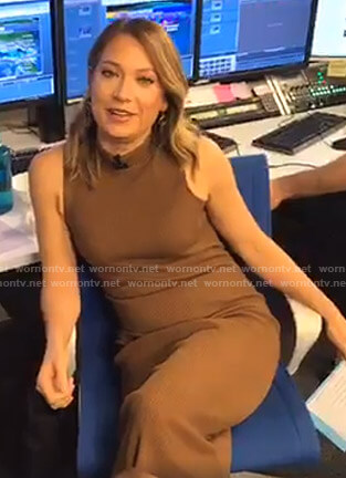 Ginger's brown ribbed sleeveless dress on Good Morning America