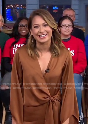 Ginger's brown wrap top on Good Morning America