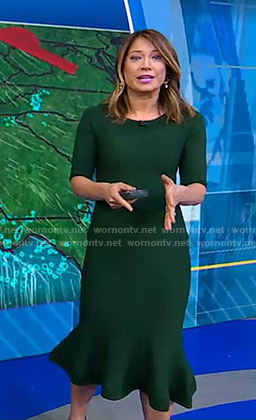 Ginger's green ruffle hem dress on Good Morning America