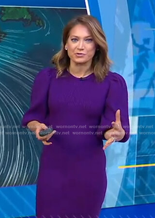 Ginger's purple puff sleeve knitted dress on Good Morning America