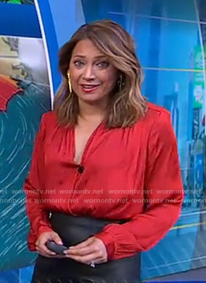 Ginger's red wrap blouse on Good Morning America