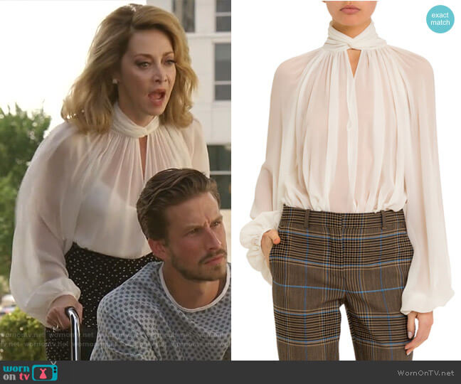 Twisted Keyhole-Neck Blouse by Givenchy worn by Sharon Lawrence on Dynasty
