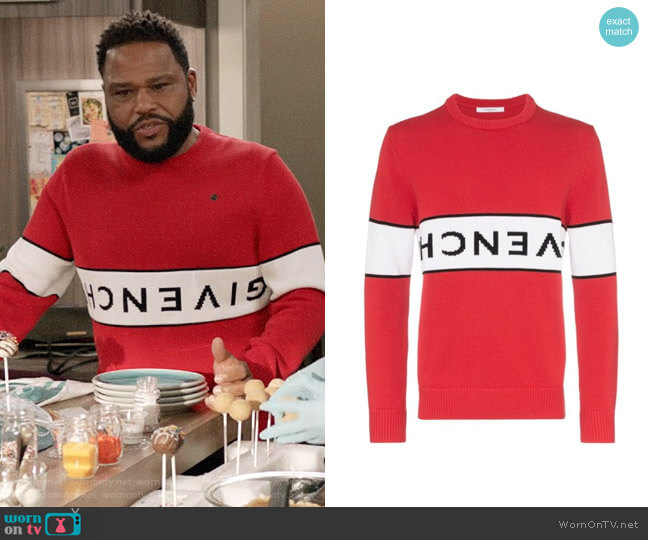 Givenchy Reverse Logo Sweater worn by Andre Johnson (Anthony Anderson) on Blackish