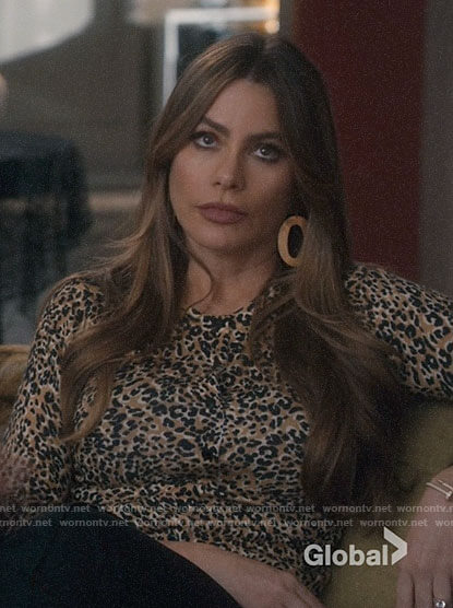 Gloria's leopard print cardigan on Modern Family