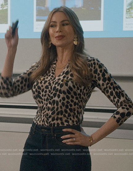 Gloria's leopard print top with zip pockets on Modern Family
