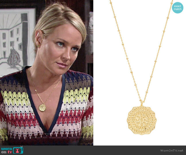 Gorjana Mosaic Coin Pendant Necklace worn by Sharon Collins (Sharon Case) on The Young & the Restless